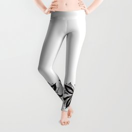 Abstract Butterfly Stipple Shaded Ink Drawing Leggings