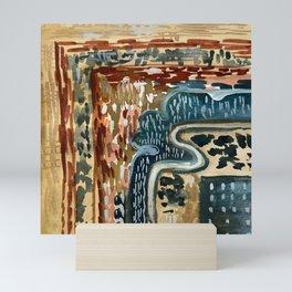 Vintage Kilim Rust and Indigo Handpainted Rug Square Mini Art Print