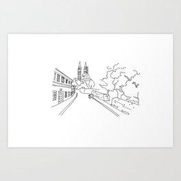 K rotundě, Praha 2, Czech Republic Art Print