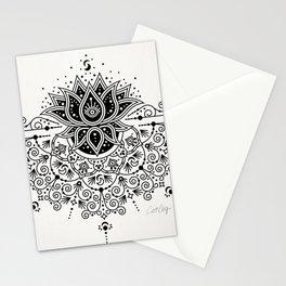 Lotus Blossom Mandala – Black Palette Stationery Cards