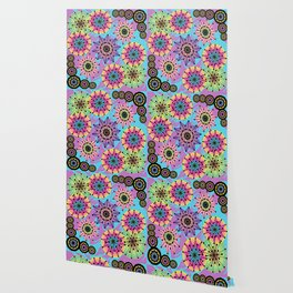 Vibrant Abstract Floral Pattern Wallpaper