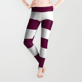 Tyrian purple - solid color - white stripes pattern Leggings