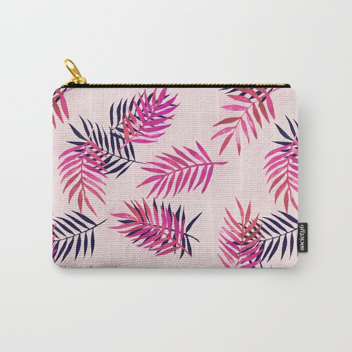Pink Palm Pattern Carry-All Pouch