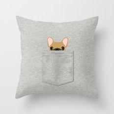 Pocket French Bulldog - Fawn Throw Pillow