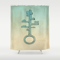 key Shower Curtains featuring Key by Mild Visualitis
