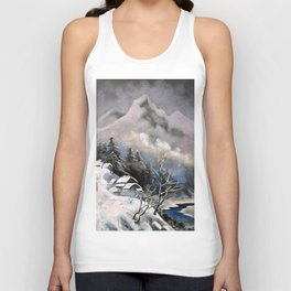 Winter village in the mountains Unisex Tank Top