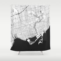 toronto Shower Curtains featuring Toronto Map Gray by City Art Posters