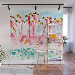 Welcome to Miami - Flamingos Illustration Wall Mural