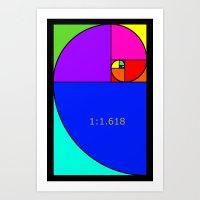 fibonacci Art Prints featuring Fibonacci Spiral by Arts and Herbs
