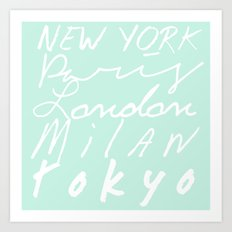 Fashion Capitals of the World - Mint Art Print