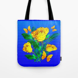 YELLOW BUTTERFLIES, ROSES, & BLUE OPTICAL ART Tote Bag