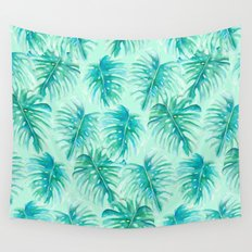 Paradise Palms Mint Wall Tapestry
