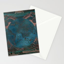 Rose gold and teal antique world map with sail ships Stationery Cards