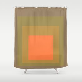 Block Colors - Muted Earthy Tones and Bright Orange Shower Curtain