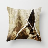 silent hill Throw Pillows featuring Silent Hill Pyramid Head by Joe Misrasi