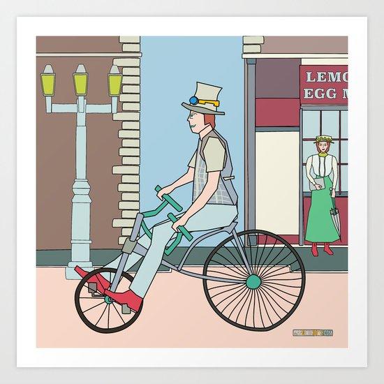 Steampunk Stovepipe Hat Biker Art Print