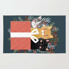 Cats cute christmas xmas tree holiday funny cat art cat lady gift unique pet gifts Rug