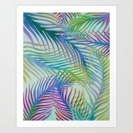 Palm Leaves Pattern - Blue, Purple, Green Art Print