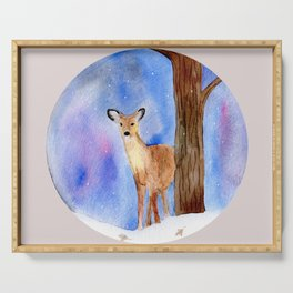 Deer in Forest Winter Painting Serving Tray