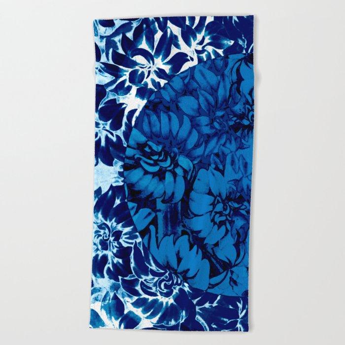 blue floral circle on blue floral Beach Towel