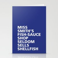Stationery Cards featuring Miss Smith's Shop - Tongue Twisters by Hell-Prints-Munich