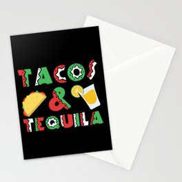 Tacos And Tequila Funny Drinking Mexican Food design Stationery Cards