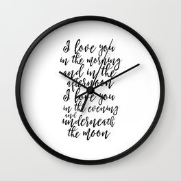 DIGITAL I Love You in the Morning and in the Afternoon Print, Gold Nursery Art,Girl Nursery Wall Art Wall Clock