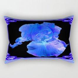Blue-Lavender Iris Art Nouveau Pattern Art Rectangular Pillow