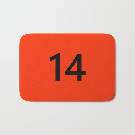 Legendary No. 14 in orange and black Bath Mat