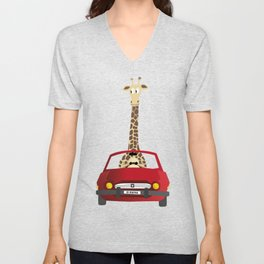 Giraffe in a Car Unisex V-Neck