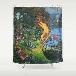 St. Hansbal Midsummer Eve Bonfire on Alpine Lake landscape painting by Nikolai Astrup Shower Curtain