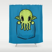 pocket Shower Curtains featuring Pocket Cthulhu by Mike Handy Art
