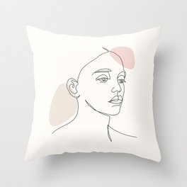 One Line Portret Girl Throw Pillow