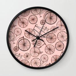 Monochroem Vintage Biycles On Coral Pink Wall Clock