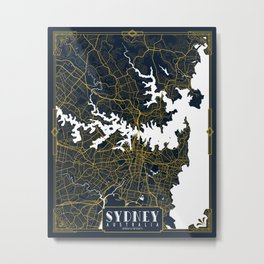 Sydney City Map of Australia - Gold Art Deco Metal Print