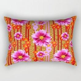 Lilac Purple Dahlia Flowers Orange Abstract Pattern Rectangular Pillow
