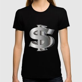 Dollar sign in 3D and silvertones. T-shirt