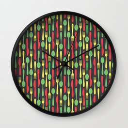 Colored Kithen Cutlery Wall Clock