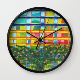 Tree In Front Of A Building Wall Clock