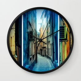 Triptych photos of alleyways in Stockholm. Wall Clock