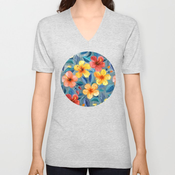 Colorful Watercolor Hibiscus on Grey Blue Unisex V-Neck
