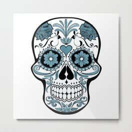 Deco Skull - blue Metal Print