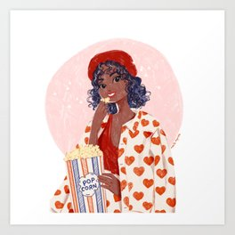 Pop-corn and heart jacket Art Print