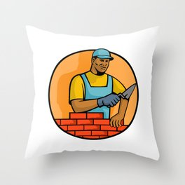 African American Bricklayer Mascot Throw Pillow
