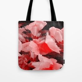 Red and Pink Snapdragons Floral Abstract Tote Bag