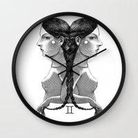 gemini Wall Clocks featuring Gemini by Carolina Espinosa