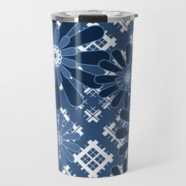 Blue flowers , flowers , plaid Travel Mug