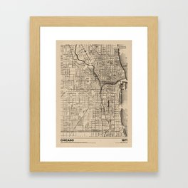 Chicago 1871 - Old Vintage USA Map Framed Art Print