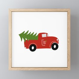 Holly Jolly Farms || Farm Truck Christmas  Framed Mini Art Print