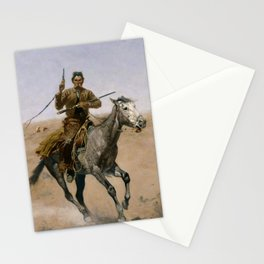 """Frederic Remington Western Art """"The Flight"""" Stationery Cards"""